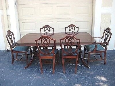 OLD Mengel USA Mahogany Wood Dining Table 6 Shield Back Chairs Leaf LOCAL PICKUP