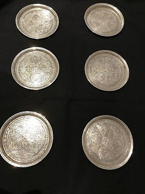 Set of six Antique 19th century Persian Islamic Engraved Silver Coasters