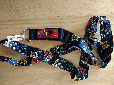 Disney Parks Collectible Mickey and Pluto Black Lanyard Year 2012