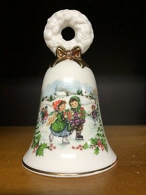 Avon Vintage 1986 Porcelain Christmas Holiday Bell Skaters