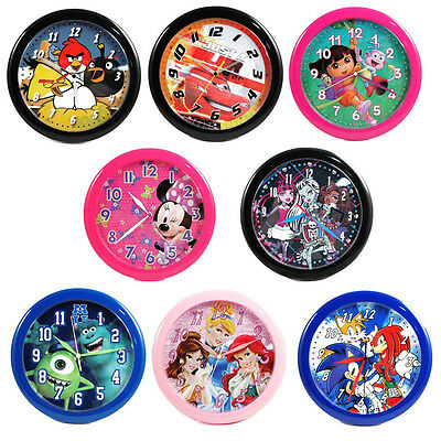 "Licensed Children 10"" Quartz Wall Clock Bedroom Kitchen Cars Princess Spider Man"