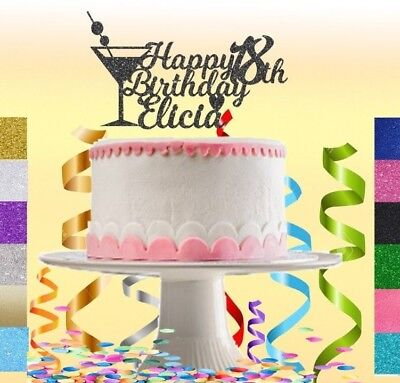 Custom Personalised 18th Birthday Glitter Cake Topper Any Name Age 16 18 21 30