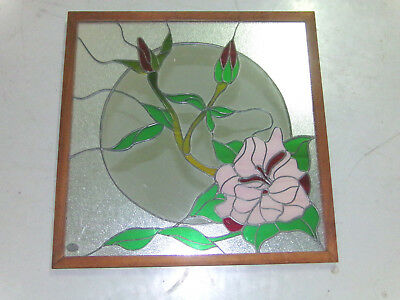 "25"" Large Vintage Virginia Mirror Co Leaded Floral Stained Glass Overlay Mirror"