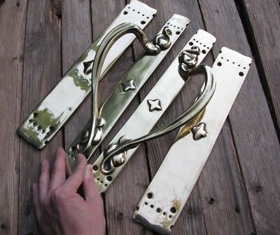 Vintage Reclaimed Pair of Heavy Door Handle Pulls + Finger Push Plates 2nd Pair