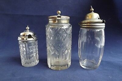 silver plated mustard pots glass