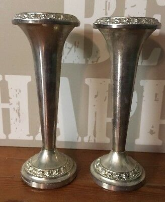 "Vintage Pair Of Ianthe Silver Plate 8"" Tall Vases"