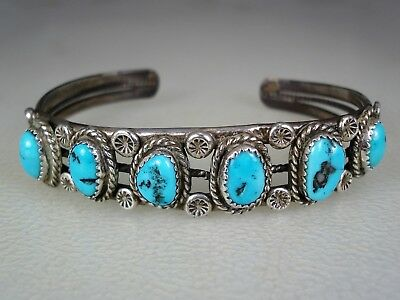 Old Navajo Sterling Silver & 6 Turquoise Row Bracelet
