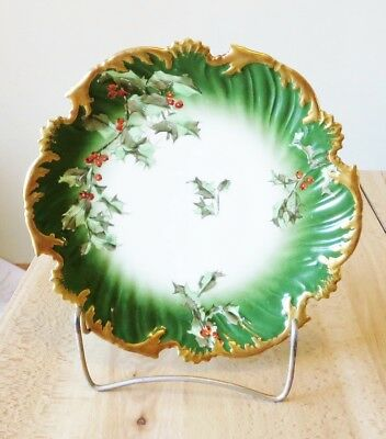 LIMOGES FRANCE ANTIQUE HAND PAINTED HOLLY & BERRIES CHRISTMAS PLATE -  M F & Co