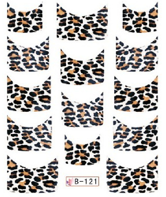 Nail Art Water Decals Stickers Transfers Animal Print French Tip (B121)