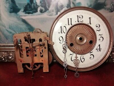 Vintage H.A.C Porcelain Clock Face & Movement, Spares or Repair.