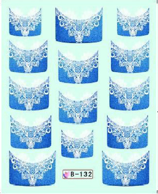 Nail Art Water Decals Stickers Transfers Blue Lace French Tip (B132)