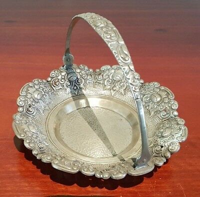 Antique German Silver Repousse Candy Bonbon Basket With Swing Handle Marked 800