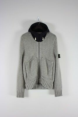 Stone Island Knitted Hooded Sweater M Grey Navy Made In Italy