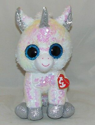 "HOT NEW TOY! TY FLIPPABLES DIAMOND Unicorn Color Changing Sequins Medium 9"" HTF"