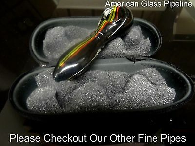 "Black Glass Hand Tobacco Smoking Pipe. 5"" + Free Case & USA Made"