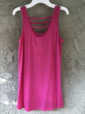 Rose Pink Vintage Womens Tank Top Size S Palm Berry Color Striped Decor BNT