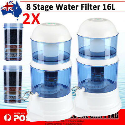 2Pcs 8 Stage Water Filter Ceramic Carbon Mineral Benchtop Dispenser Purifier Top