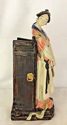"""Vintage Asian Lady Figurine 13"""" Tall Hand Painted Geisha Bisque And Glazed"""