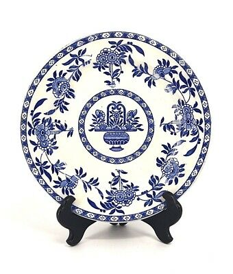 """Antique Delph James M Shaw Pair Of Dinner Plates 9.25"""" Blue And White"""