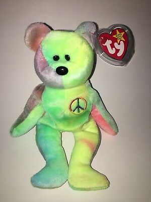 Rare TY Beanie Baby Babies Peace Tie Dye Multiple Tag Errors Authentic