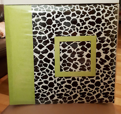 SCRAPBOOK ALBUM LIME GREEN & LEOPARD PATTERN COVER  30 X 30cm   POST BOUND B/NEW