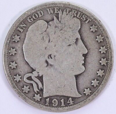 1914-P Barber Half Dollar 50C 90% Raw US Silver Semi-Key Date