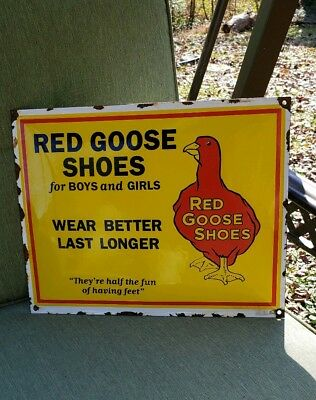 RED GOOSE SHOES porcelain sign vintage work wear brand leather store display
