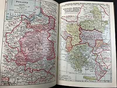A New Atlas of the World 1919 WW1 Redrawn Color Maps & War Stories Merton Wilner