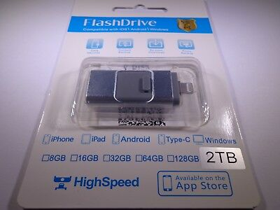 2TB 3 in 1 USB Flash Drive Memory Stick for iPhone IOS OTG Android Windows PC