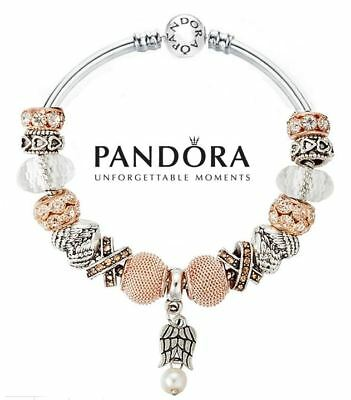 Authentic Pandora Silver Bangle Bracelet with Charms Gold Angel Heart Wings USA