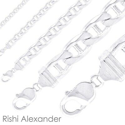 Real Solid 925 Sterling Silver Mens Mariner Chain Link Bracelet or Necklace