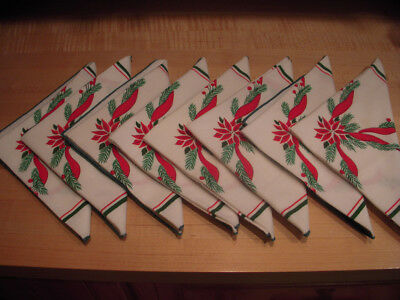 "Set of 8 Vintage Poinsettia Christmas Dinner Napkins : 16"" by 17"""