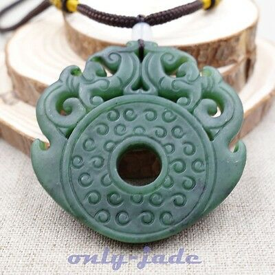 Certified A 100% Natural Green Nephrite Jade Pendant Hand-carved Dragon 龙 V4396