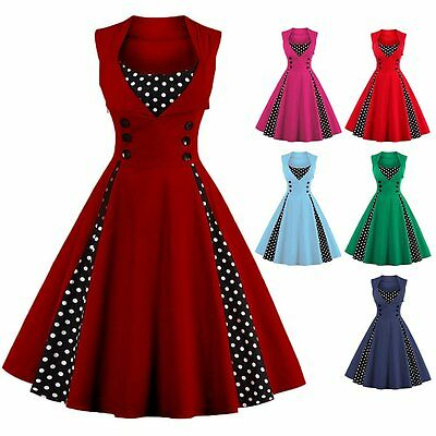 Plus Size 50s 60s Vintage Rockabilly Swing Housewife Party Evening Retro Dress