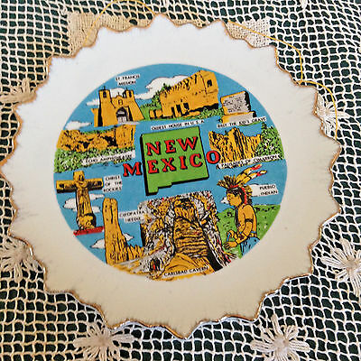 "Vintage New Mexico Vacation Sites Souvenir Plate Gold Trim 7.25"" Dia"