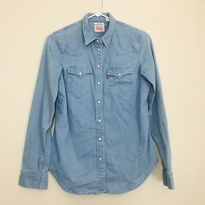 Levi Strauss & Co. Chambray Denim Pearl Snap Tailored Fit Button Down, Size Smal