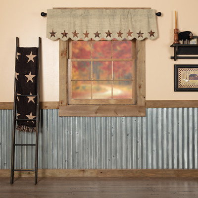 Abilene Applique Star Scalloped Country Cottage Primitive Lined Window Valance
