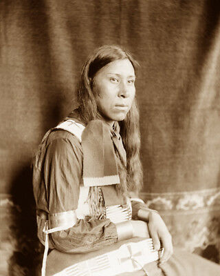 SAMMY LONE BEAR (sitting) 1898 SIOUX NATIVE AMERICAN SEPIA PHOTO