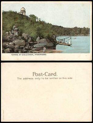 India Old Postcard Tombs at Golconda Hyderabad, Native Boat Rocks British Indian