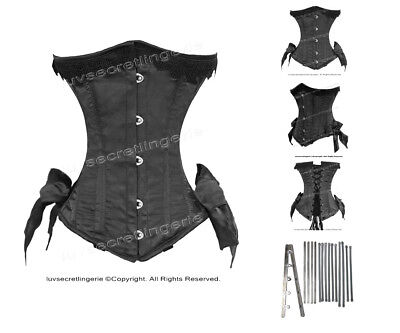Heavy 26 Double Steel Boned Waist Training Satin Underbust Shaper Corset #8520B
