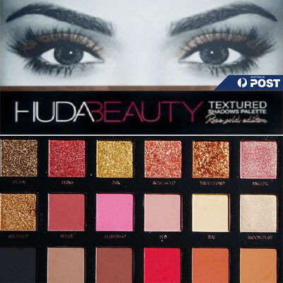 HUDA BEAUTY 18 Colours Rose Gold Edition Textured Eye Shadows Palette Makeup