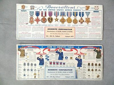 Wwii Ink Blotter Cards Us Military Decorations & Military Women Insignia