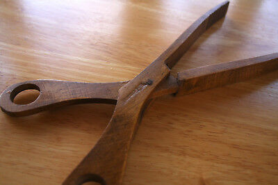 Vintage handmade West German Wooden Salad Tongs server wood thongs germany