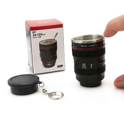 Mini Camera Lens Cup Coffee Tea Mug Stainless Steel Thermos Keychain BL