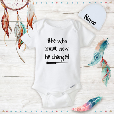 200effef0bc She who must be changed Organic Onesie Personalized Hat Potter Baby Shower  Gift