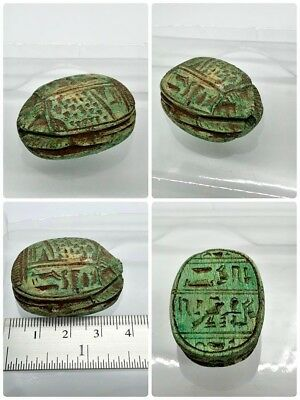 RARE ANCIENT EGYPTIAN ANTIQUE Scarab Carved ancient characters 1785-1569BC