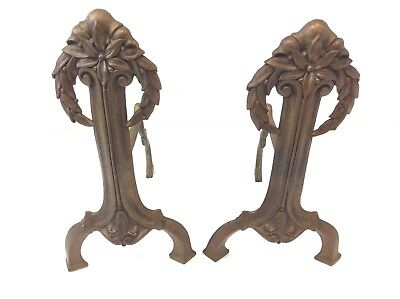 Antique Pair Old Brass Metal Miniature Small Andirons Flower Petal Design