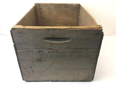 Vintage Used Wood Wooden Rustic Gas Point New York HH Dobbins Shipping Crate