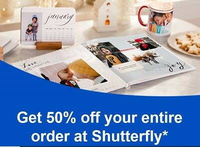 Shutterfly Promotion Code 50% OFF Your Order Exp 12/31/18