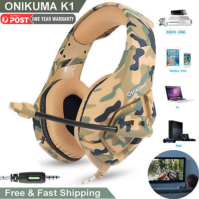 ONIKUMA K1 Mic Stereo Bass Surround Gaming Headset for Laptop PS4 Xbox One AU